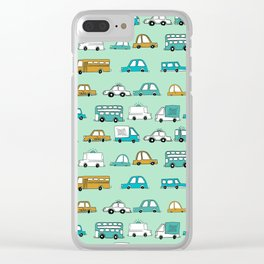 Cars trucks buses city highway transportation illustration cute kids room gifts Clear iPhone Case