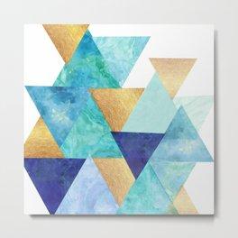 Watecolor Triangles in Blue Metal Print