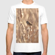 A Sparrow on Catails Mens Fitted Tee White MEDIUM