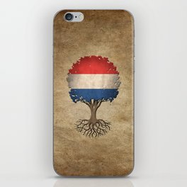Vintage Tree of Life with Flag of The Netherlands iPhone Skin