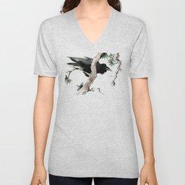 Raven, Japanese Ink Art, Traditional Asian Watercolor Unisex V-Neck
