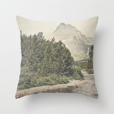 Retro Mountain River Throw Pillow