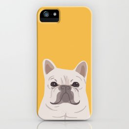 Frenchie on Yellow iPhone Case