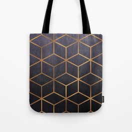 Dark Purple and Gold - Geometric Textured Gradient Cube Design Tote Bag