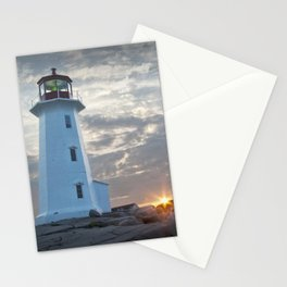Sunrise at Peggys Cove Lighthouse in Nova Scotia Stationery Cards