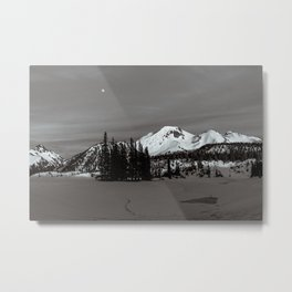 Garibaldi Lake Snowy Mountains & the Moon in Black and White Metal Print