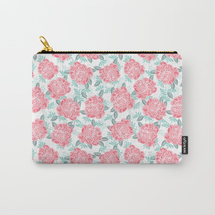 Peony Floral flower garden nature illustration painting free spirit boho college girly pink pastel  Carry-All Pouch