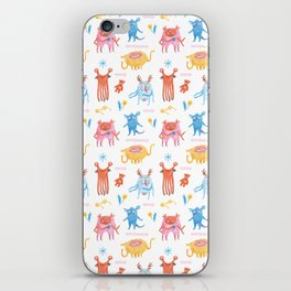 Friendly and Cute Monster crew pattern, hand drawn iPhone Skin