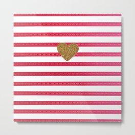 Elegant faux gold glitter heart hot pink modern stripes Metal Print