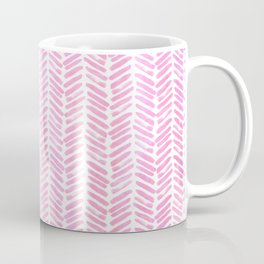 Handpainted Chevron pattern small - pink watercolor on white Coffee Mug