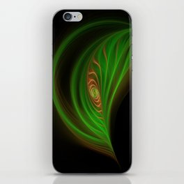 Gold Green Peacock Feather iPhone Skin
