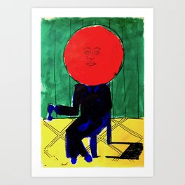 Tomato Face - Abstract Surrealism psychedelic illustration Art Print