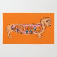 dachshund Area & Throw Rugs featuring Secrets of the Dachshund  by Rachel Caldwell