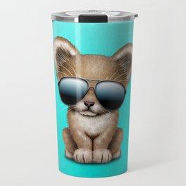 Cute Baby Lion Wearing Sunglasses Travel Mug