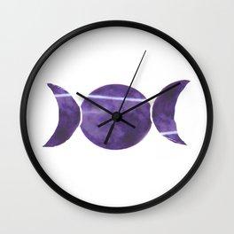Violet Purple Triple Moon Wall Clock