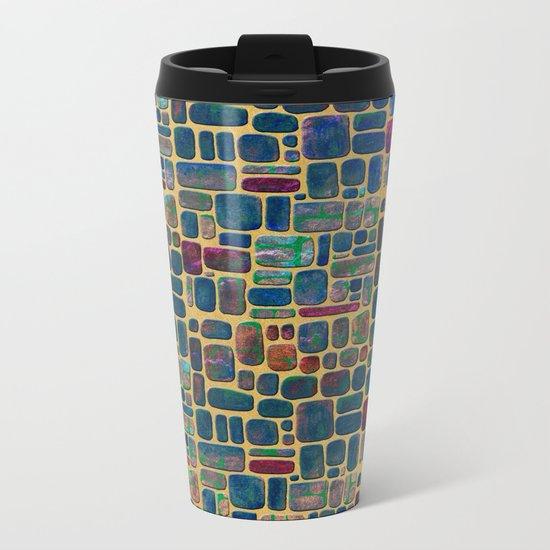 Abstract Tile Mosaic Metal Travel Mug