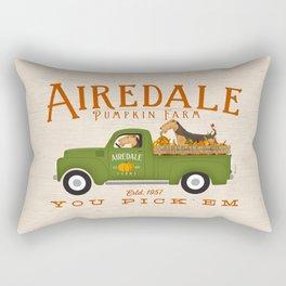 Airedale Terrier Dog Pumpkin Truck Vintage Green Farm Rectangular Pillow