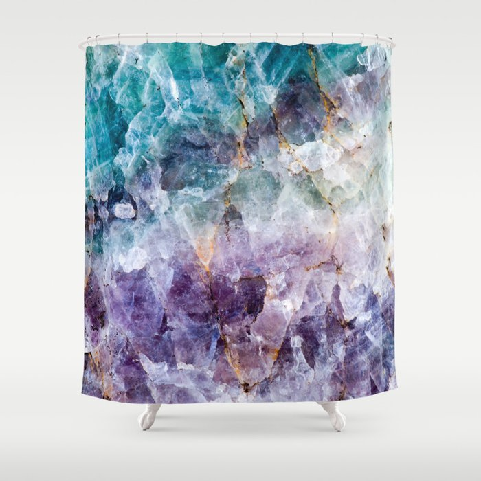 Turquoise Amp Purple Quartz Crystal Shower Curtain By