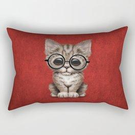 Cute Brown Tabby Kitten Wearing Eye Glasses on Red Rectangular Pillow