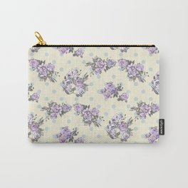 Vintage chic pastel lavender blue ivory roses polka dots pattern Carry-All Pouch