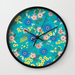 01 Ditsy floral pattern. Blue background. Colorful flowers. Wall Clock