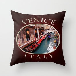 Gondolas On A Small Venetian Canal Throw Pillow