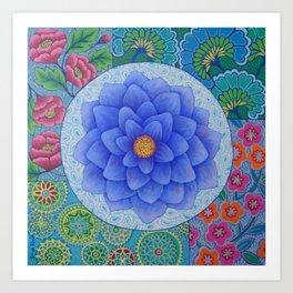 Violet Flower Mandala Art Print