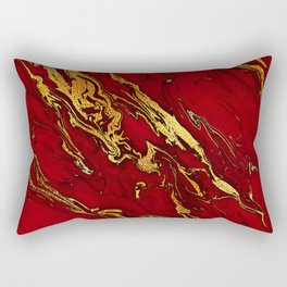 Chic Elegant Fire Red Ombre Glitter Marble Rectangular Pillow
