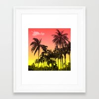 tropical Framed Art Prints featuring palm tree  by mark ashkenazi
