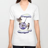 clock V-neck T-shirts featuring Clock by Anna Shell