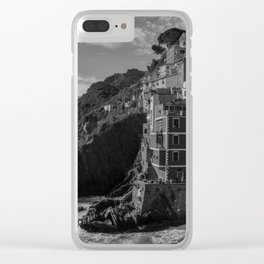 Cinque Terre black and white Clear iPhone Case