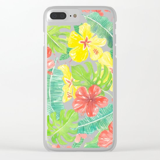 Tropical garden, hibisus, plumeria and palm leaves Clear iPhone Case