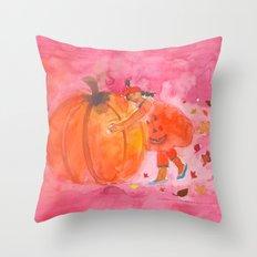 Children's Pink Halloween Print Throw Pillow