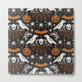 All Hallows' Eve - Black Orange Halloween Metal Print