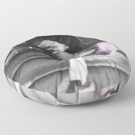 Albert Einstein in Fuzzy Pink Slippers Classic E = mc² Black and White Photograph Floor Pillow