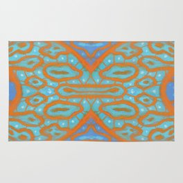 Orange and blue abstract pattern in eastern style Rug