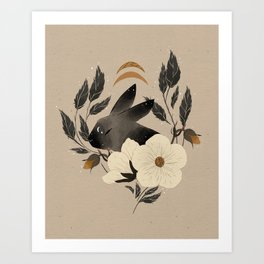 Two Moons Rabbit Art Print