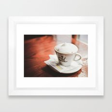cappuccino on the table Framed Art Print