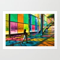 Stepping into a rainbow Art Print