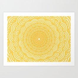 Spiral Mandala (Yellow Golden) Curve Round Rainbow Pattern Unique Minimalistic Vintage Zentangle Art Print