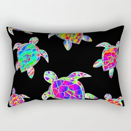 Turtle full color multicolor happy color Tortues multicolores Rectangular Pillow