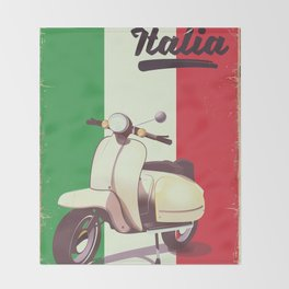 Italia Scooter vintage poster Throw Blanket