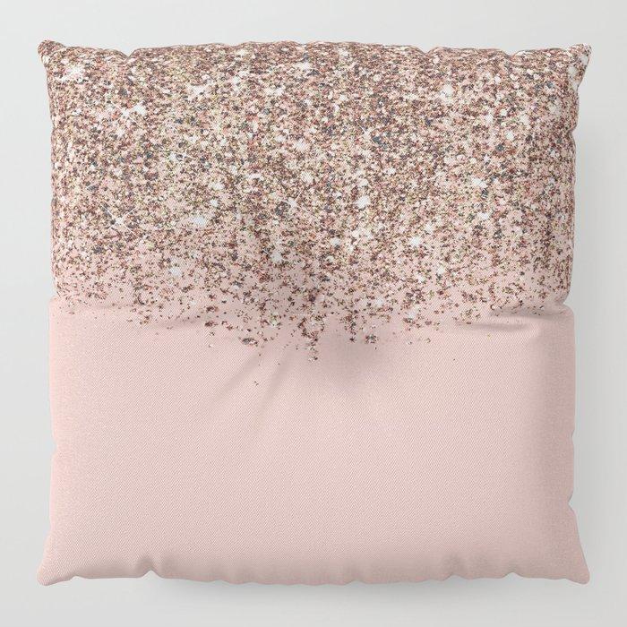 Blush Pink Rose Gold Bronze Cascading Glitter Floor Pillow