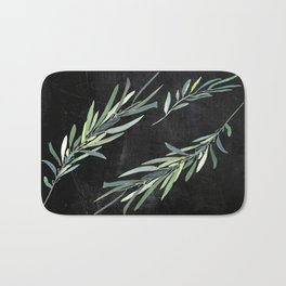 Eucalyptus leaves on chalkboard Bath Mat
