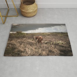 Stare Down - A Texas Bull in the Mesquite and Cactus Rug