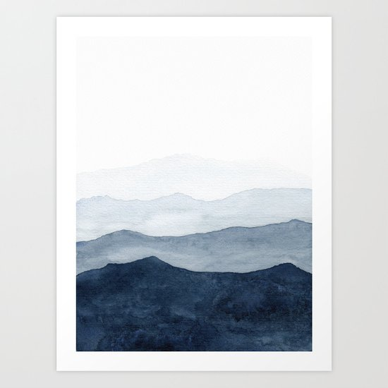 Indigo Abstract Watercolor Mountains by ccartstudio