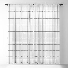 Modern Windowpane White Line Minimal Grid Home Decor Sheer Curtain