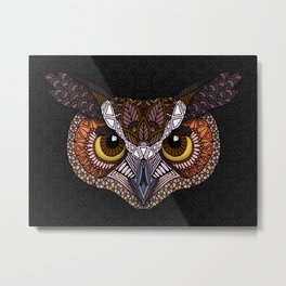 Great Horned Owl Head Metal Print