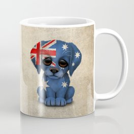 Cute Puppy Dog with flag of Australia Coffee Mug