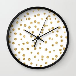 Gold glitter confetti on white - Metal gold dots Wall Clock